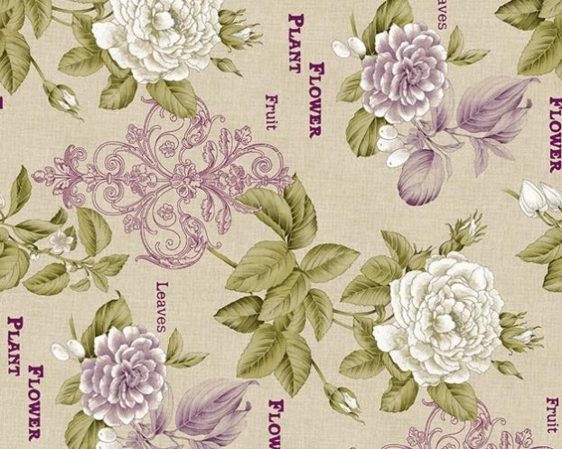 Material draperie Chic Flower A verde